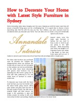 How To Decorate Your Home With Latest Style Furniture In Sydney