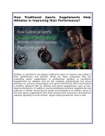 How Traditional Sports Supplements Help Athletes in Improving their Performance?