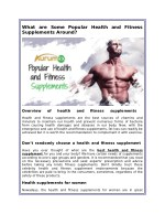 What are Some Popular Health and Fitness Supplements Around?