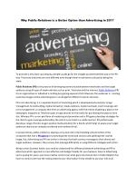 Why Public Relations is a Better Option than Advertising in 2017