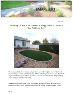 Looking To Build An Ultra Safe Playground At Home? Use Artificial Turf