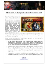 A Quick Guide On Playing Online Bitcoin Casino Games In UK
