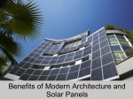 Benefits of Modern Architecture and Solar Panels