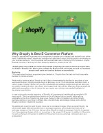 Why Shopify Is Best E-Commerce Platform