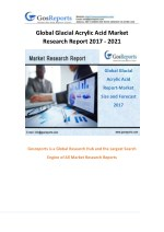 Gosreports New Market Research on Global Glacial Acrylic Acid Market 2017