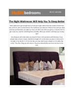 The Right Mattresses will Help you to Sleep Better – HuSH Bedrooms