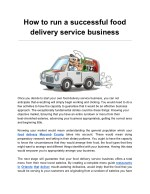 How to run a successful food delivery service business