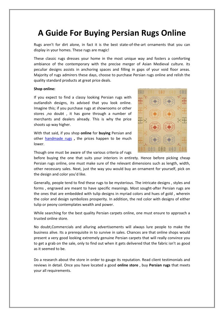 Ppt A Guide For Ing Persian Rugs