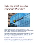 India is a great place for innovation: Microsoft