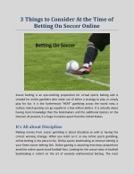 3 Things to Consider At the Time of Betting On Soccer Online