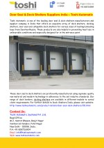 Door Seal & Dock Shelters Suppliers India – Toshi Automatic