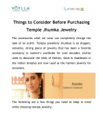Things to Consider Before Purchasing Temple Jhumka Jewelry