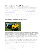 Buyers Guide - How To Choose The Best Portable Generator