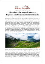 Shimla Kullu Manali Tours - Explore the Copious Nature Beauty