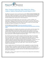 Water treatment technology sales Market Analysis- opportunities sales, revenue, Gross Margin, Outlook and Forecast To 20