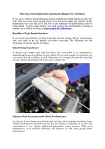 Why You Need Authorized Automotive Repair For Vehicles