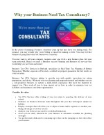 Why your Business Need Tax Consultancy?