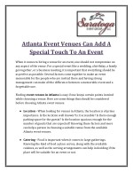Atlanta Event Venues Can Add A Special Touch To An Event