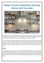 Things To Keep In Mind When Choosing Kitchen Wall Tiles India