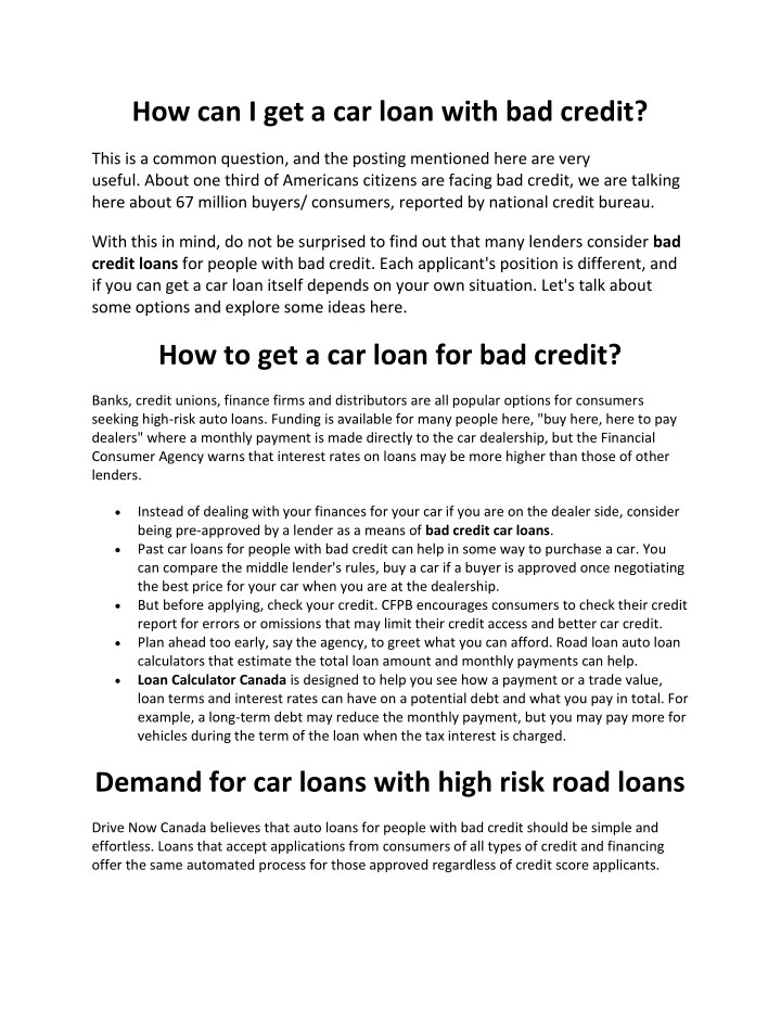 Ppt How Can I Get A Car Loan With Bad Credit Powerpoint