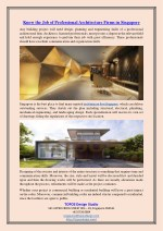 Know the Job of Professional Architecture Firms in Singapore