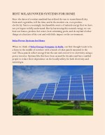 BEST SOLAR POWER SYSTEMS FOR HOME