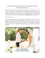 Get Married in Style Avail Services of India's Premier Wedding Consultant