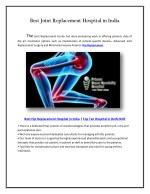Best Joint Replacement Hospital in Delhi