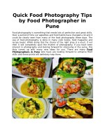 Quick Food Photography Tips by Food Photographer in Pune