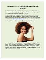 Maintain Your Style by African American Hair Product