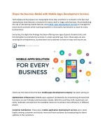 Shape the Business Model with Mobile Apps Development Services