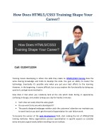 How Does HTML5/CSS3 Training Shape Your Career?