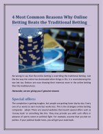 4 Most Common Reasons Why Online Betting Beats the Traditional Betting