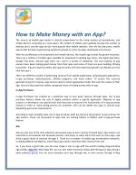 How to Make Money with an App?