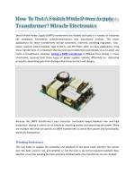 How To Test A Switch Mode Power Supply Transformer? Miracle Electronics