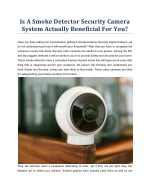 Is A Smoke Detector Security Camera System Actually Beneficial For You?