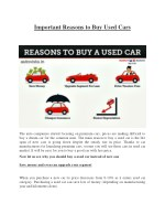 Important Reasons to Buy Used Cars : Autovista
