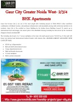 Gaur City Greater Noida West- 2-3-4 BHK Apartments