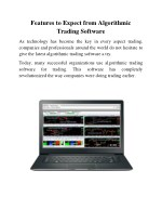 Features to Expect from Algorithmic Trading Software