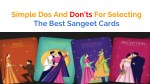 Dos and Don't for Sangeet Selecting Cards.