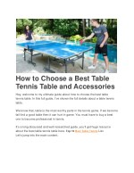 How to Choose a Best Table Tennis Table and Accessories.