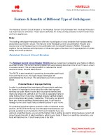 Feature & Benefits Of Different Type Of Switchgears