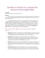 Qualities to look for in a criminal law lawyers of the Lehigh Valley