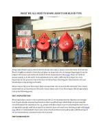 WHAT WE ALL NEED TO KNOW ABOUT OUR BLOOD TYPE