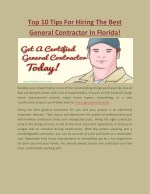 Top 10 Tips For Hiring The Best General Contractor In Florida!