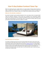 How To Buy Outdoor Furniture? Some Tips