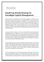 Small Cap Stocks Strategy by Paradigm Capital Management