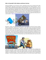 Why It Is Essential To Hire Packers and Movers Services
