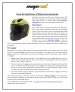 Know the Significance of Motorcycle Accessories