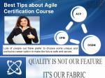 Best Tips about Agile Certification Course